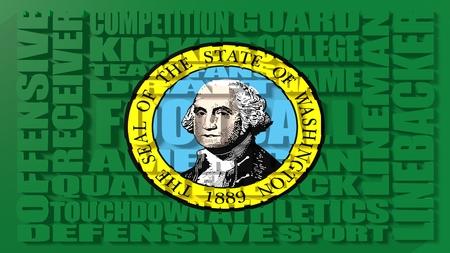 washington state: Football word build in relative words cloud. USA national sport illustration. Washington state flag