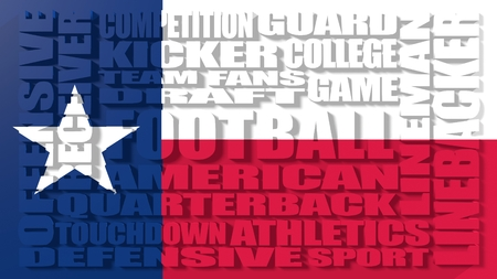 build in: Football word build in relative words cloud. USA national sport illustration. Texas state flag