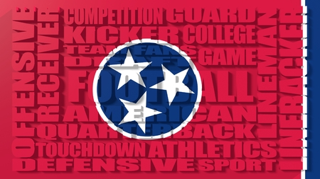 build in: Football word build in relative words cloud. USA national sport illustration. Tennessee state flag