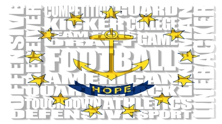 island state: Football word build in relative words cloud. USA national sport illustration. Rhode island state flag Stock Photo