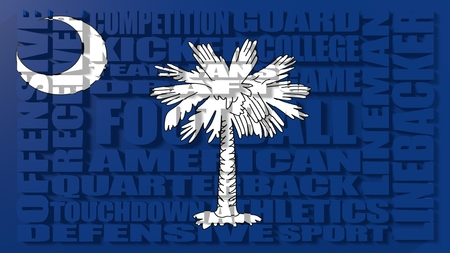 build in: Football word build in relative words cloud. USA national sport illustration. South Carolina state flag Stock Photo