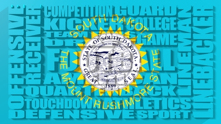 Football word build in relative words cloud. USA national sport illustration. South Dakota state flag