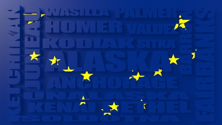 kodiak: Flag textured alaska state cities and places. Image relative to usa travel Stock Photo