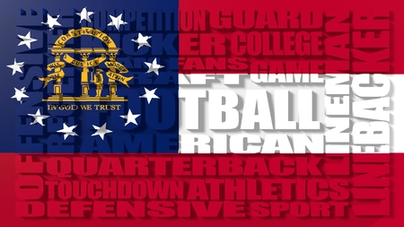 build in: Football word build in relative words cloud. USA national sport illustration. Georgia state flag