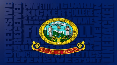 relative: Football word build in relative words cloud. USA national sport illustration. Idaho state flag Stock Photo