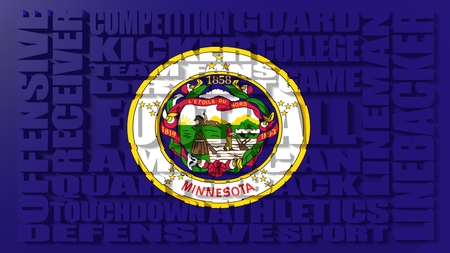 relative: Football word build in relative words cloud. USA national sport illustration. Minnesota state flag