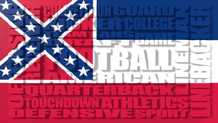 build in: Football word build in relative words cloud. USA national sport illustration. Mississippi state flag