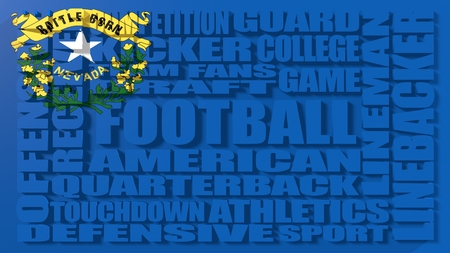 build in: Football word build in relative words cloud. USA national sport illustration. Nevada state flag Stock Photo