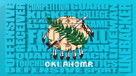 build in: Football word build in relative words cloud. USA national sport illustration. Oklahoma state flag