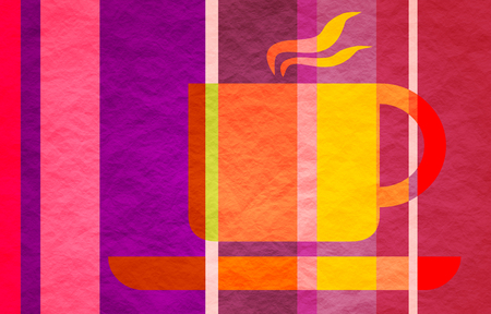 striped band: Coffee or tea cup. Crumpled paper texture. Striped silhouette on gradient band backdrop