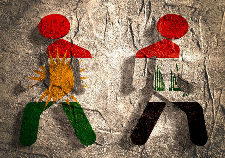 politic: Image relative to politic relationships between Iraq and Kurdistan. National flags on human icons. Concrete textured surface.