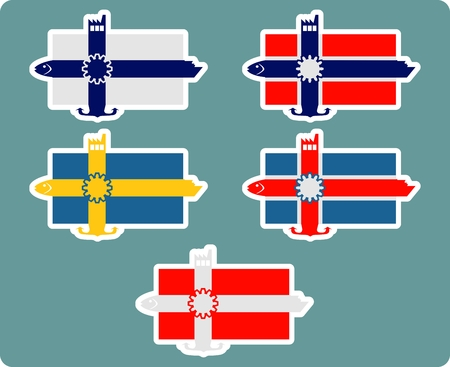 ferry boat: Finland, norway, iceland, denmark, sweden national banner and industrial icons collage collection. Ship, fish, factory, anchor icons on the end of flag stripes