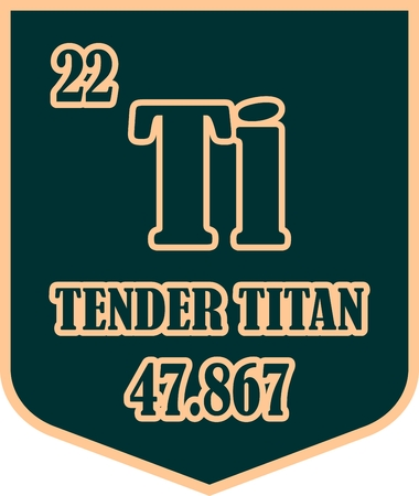 titan: Tender titan text on shield sticker. Image relative for gym and bodybuilding. Remastered titan chemical element tag. Chemistry in metaphor design. Speech bubble design.