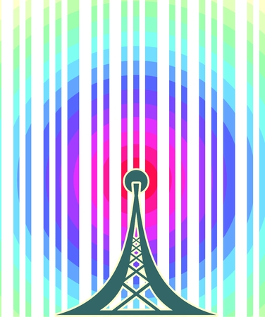 rainbow circle: Wi Fi Symbol on rainbow circle striped backdrop. Mobile gadgets technology relative image Illustration