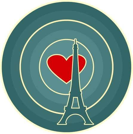 radio waves: Eiffel tower in Paris. Contour silhouette on circle gradient radiant background. Red heart icon as radio waves radiant on backdrop Illustration