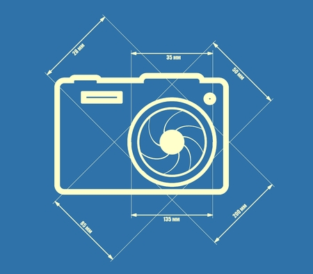 focal: Photo camera icon. Blue outline silhouette. Measure lines with focal length data. Illustration