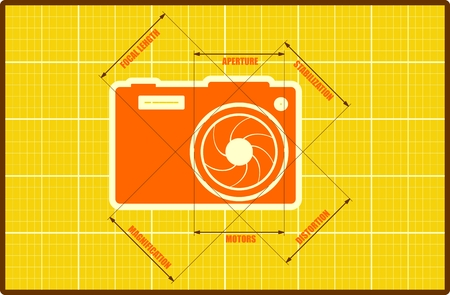 yellow photo: Photo camera icon. Orange outline silhouette on blueprint yellow backdrop. Measure lines with main parameters name list.