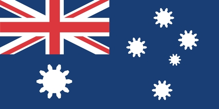 relative: Australian flag with gears instead stars. Australia industry relative image Illustration