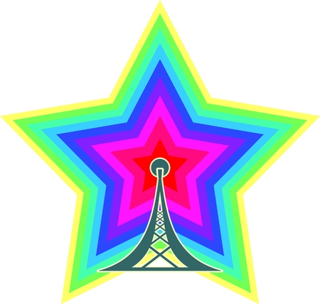 relative: Wi Fi Symbol with star icon as rainbow radio waves emitter. Mobile gadgets technology relative image