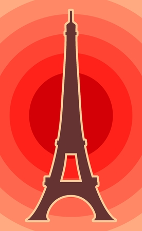 tower: Eiffel tower in Paris. Contour silhouette on radiant background.