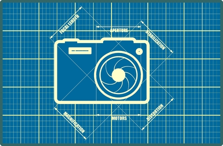 parameters: Photo camera icon. Outline silhouette on blue print backdrop. Measure lines with main parameters name list.