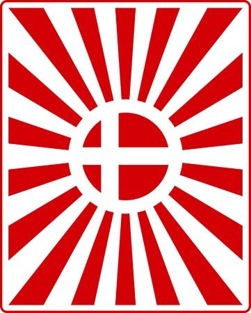 national holiday: Denmark national flag on sunburst background. Card template for national holiday celebration Red and white