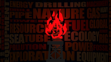 tags cloud: Nature gas relative tags cloud. Image relative to gas production and supply. Glowing red flame icon Stock Photo