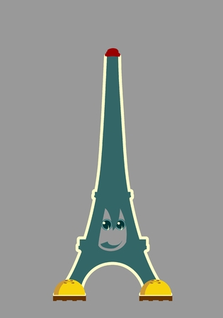 french culture: Eiffel tower in Paris. Cartoon face emotions. Contour silhouette on curved stripes background.