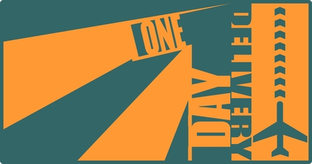 ensuing: Orange text one day inside blue number. Air post delivery relative illustration Illustration