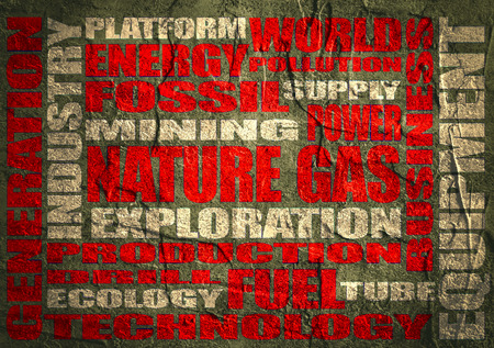 tags cloud: Nature gas relative tags cloud. Image relative to gas production and supply. Concrete textured surface.