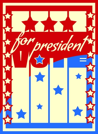 president of the usa: Vote for president text on USA flag design elements background. Image relative to parliament, president and others elections in United States of America