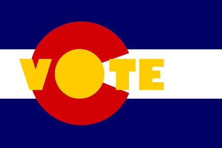 colorado flag: Vote word on Colorado flag background. Image relative to parliament, president and others elections in United States of America Illustration
