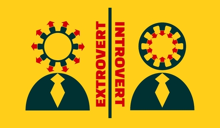 intuitive: extrovert vs introvert simple icon metaphor. image relative to human psychology Illustration