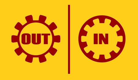 activate: Out, in buttons. Cog wheel style design Illustration