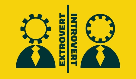 extrovert vs introvert simple icon metaphor. image relative to human psychology Ilustração