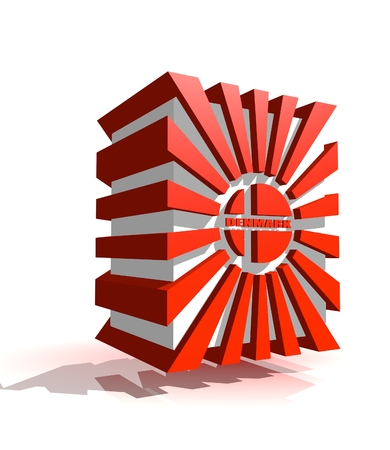 national holiday: 3d shape from Denmark national flag elements. Image for Constitution Day celebration. 5 june Denmark national holiday.