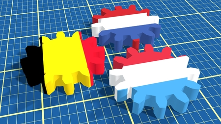 benelux: Politic and economic union members flags on cog wheels. Blueprint surface backdrop. Benelux