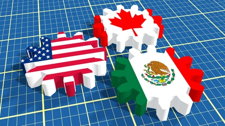 North American Free Trade Agreement members flags on cog wheels. Blueprint surface backdrop
