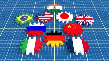 top ten: International Monetary Fund top ten members flags on gears. Blueprint backdrop surface