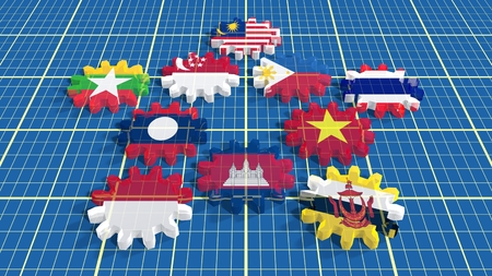 ASEAN - political and economic organization of ten Southeast Asian countries. Union members flags on transparent glass gears Imagens - 50087856
