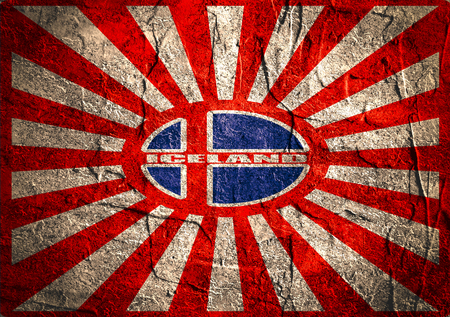 iceland flag: Abstract  background. Red, blue and white colors of Iceland Flag. Concrete textured.