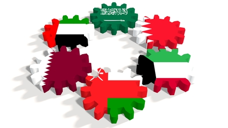 politic: Cooperation Council for the Arab States of the Gulf. Politic and economic union members flags on cog wheels. White backdrop