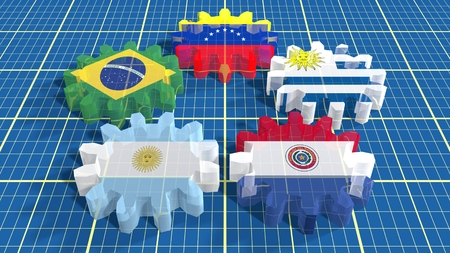 politic: Southern Common Market association of five South America national economies. Politic and economic union members flags on transparent glass cog wheels. Blueprint surface backdrop