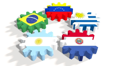 common market: Southern Common Market association of five South America national economies. Politic and economic union members flags on cog wheels. White backdrop