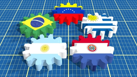 common market: Southern Common Market association of five South America national economies. Politic and economic union members flags on cog wheels. Blueprint surface backdrop Stock Photo