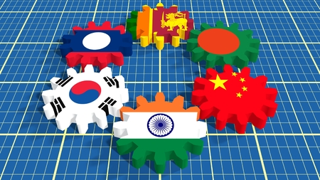 politic: Asia-Pacific Trade Agreement. Politic and economic union members flags on cog wheels. Blueprint backdrop