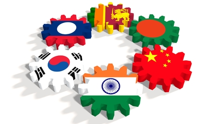 politic: Asia-Pacific Trade Agreement. Politic and economic union members flags on cog wheels. White backdrop