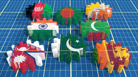 global rates: South Asian Association for Regional Cooperation association of eight national economies members flags on cog wheels. White backdrop