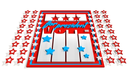 president of the usa: Vote for president 3D text on USA flag design elements background. Image relative to parliament, president and others elections in United States of America
