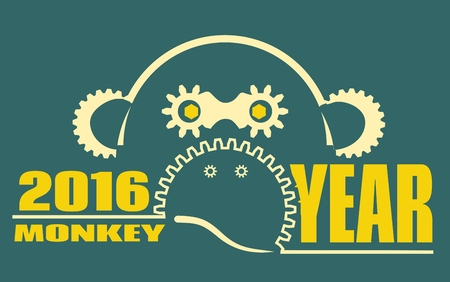 ape: Ape as symbol of year. Design from industrial elements. Robot monkey outline silhouette